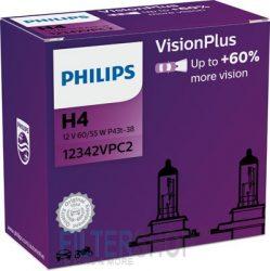 PHILIPS 12342 VPC2 Vision Plus Izzókészlet (2 db) H4 12V 60/55W P43t VISION PLUS