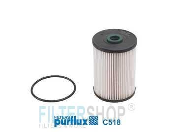 PURFLUX C518 Gázolajszűrő, üzemanyagszűrő 1.9-2.0 TDI Audi A3, Seat Leon, Toledo, Skoda Octavia, Volkswagen Caddy, Golf, Jetta, Scirocco, Touran