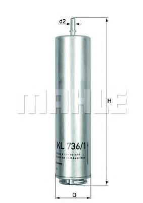MAHLE KL736/1D Gázolajszűrő, üzemanyagszűrő BMW, MINI